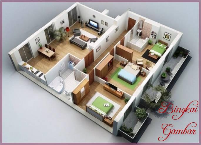 Gambar Sketsa Rumah Kamar 3