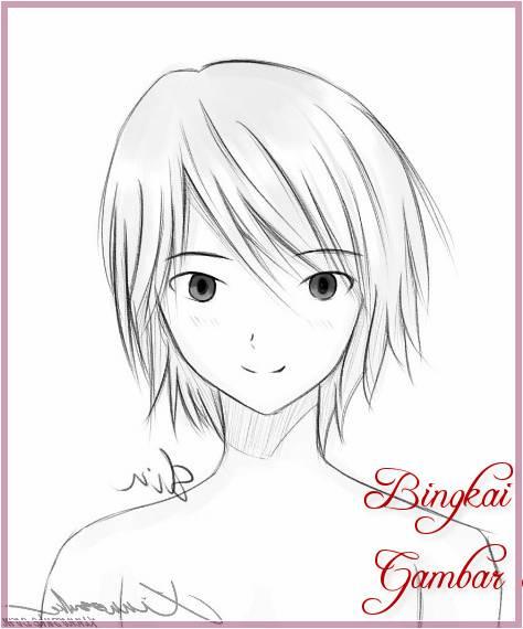 Gambar Sketsa Wajah Kartun Jepang