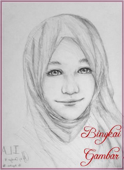 Gambar Sketsa Wajah Wanita Hijab