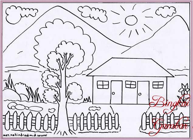 Sketsa Gambar Rumah Dan Halaman