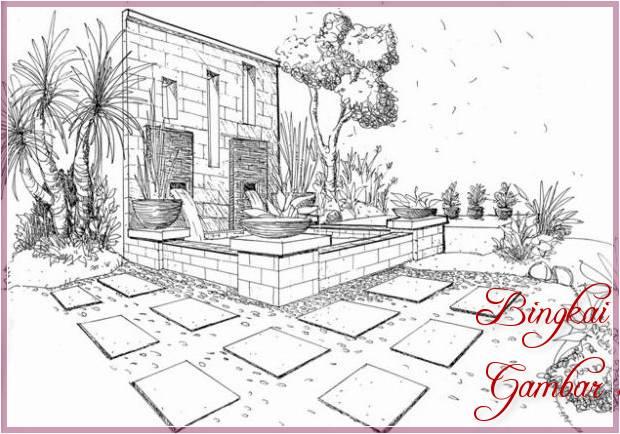 Sketsa Gambar Taman Halaman Rumah