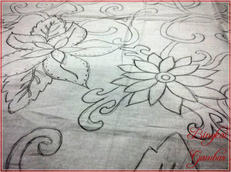 Contoh Sketsa Batik Bunga Sederhana