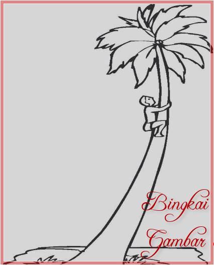 Sketsa Gambar Orang Manjat Pohon Kelapa