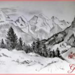 Sketsa Gambar Pohon Cemara Di Gunung