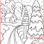 Sketsa Gambar Pohon Cemara Untuk Mewarnai