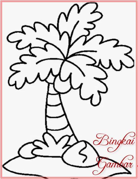 Sketsa Gambar Pohon Kelapa Kecil