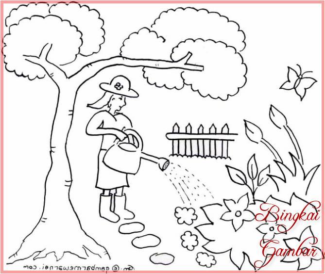 Sketsa Gambar Taman Bunga Sederhana