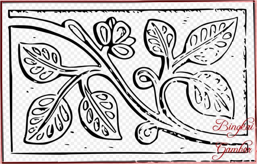 Sketsa Ukiran Kayu Sederhana Bunga