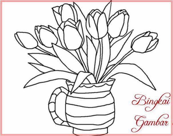 Sketsa Vas Bunga Sederhana