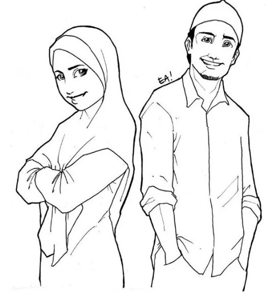 Sketsa Kartun Berpasangan Islami